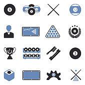 Billiards Icons. Two Tone Flat Design. Vector Illustration.