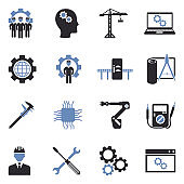 Engineering And Manufacturing Icons. Two Tone Flat Design. Vector Illustration.