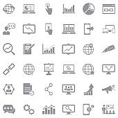 Internet Marketing Icons. Gray Flat Design. Vector Illustration.