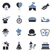 Clown Icons. Two Tone Flat Design. Vector Illustration.