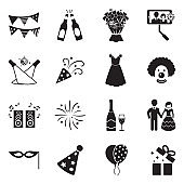 Celebration Icons. Black Flat Design. Vector Illustration.