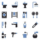 Bathroom Icons. Two Tone Flat Design. Vector Illustration.