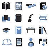 Books And Education Icons. Two Tone Flat Design. Vector Illustration.