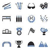 Biathlon Icons. Two Tone Flat Design. Vector Illustration.
