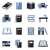 Books Icons. Two Tone Flat Design. Vector Illustration.