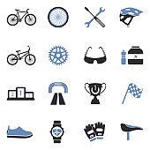 Biking Icons. Two Tone Flat Design. Vector Illustration.