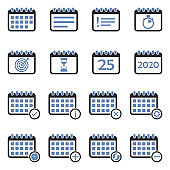 Calendar Icons. Two Tone Flat Design. Vector Illustration.