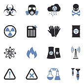Biohazard Icons. Two Tone Flat Design. Vector Illustration.