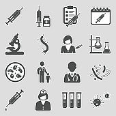 Vaccine Icons. Sticker Design. Vector Illustration.