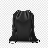 Backpack black mockup backpack bag. Drawstring isolated pouch on white background. Blank template with bags, vector mockup.