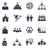 Conference, Business And Management Icons. Two Tone Flat Design. Vector Illustration.