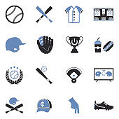 Baseball Icons. Two Tone Flat Design. Vector Illustration.