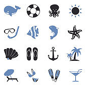 Sea Icons. Two Tone Flat Design. Vector Illustration.