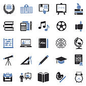 Education Icons. Two Tone Flat Design. Vector Illustration.