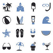 Beach Icons. Two Tone Flat Design. Vector Illustration.