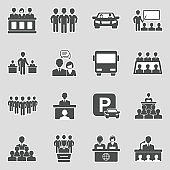 Coworking Space Icons. Sticker Design. Vector Illustration.