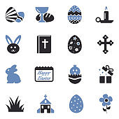 Easter Icons. Two Tone Flat Design. Vector Illustration.