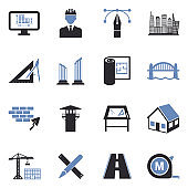 Architecture Icons. Two Tone Flat Design. Vector Illustration.