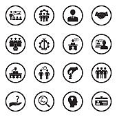 Consulting Icons. Black Flat Design In Circle. Vector Illustration.