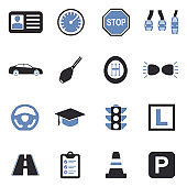 Driving School Icons. Two Tone Flat Design. Vector Illustration.