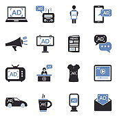 Advertising Icons. Two Tone Flat Design. Vector Illustration.