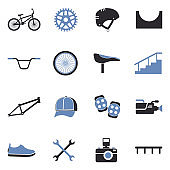 BMX Icons. Two Tone Flat Design. Vector Illustration.