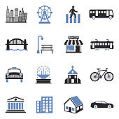 City Icons. Two Tone Flat Design. Vector Illustration.