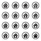 Real Estate Icons. Set 3. Black Flat Design In Circle. Vector Illustration.