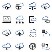 Cloud Computing Icons. Two Tone Flat Design. Vector Illustration.