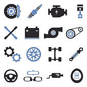 Car Parts Icons. Two Tone Flat Design. Vector Illustration.