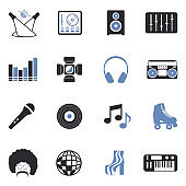Disco Icons. Two Tone Flat Design. Vector Illustration.