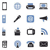 Communication Icons. Two Tone Flat Design. Vector Illustration.