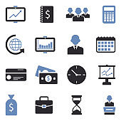 Business Icons. Two Tone Flat Design. Vector Illustration.