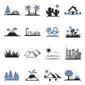 Landscape Icons. Set 2. Two Tone Flat Design. Vector Illustration.