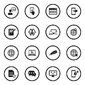 Internet Marketing Icons. Black Flat Design In Circle. Vector Illustration.
