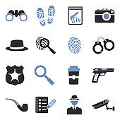 Detective Icons. Two Tone Flat Design. Vector Illustration.