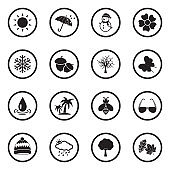 Season Icons. Black Flat Design In Circle. Vector Illustration.
