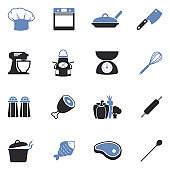 Chef And Cooking Icons. Two Tone Flat Design. Vector Illustration.
