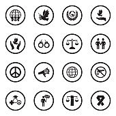 Human Rights Icons. Black Flat Design In Circle. Vector Illustration.