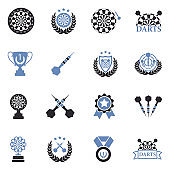 Darts Icons. Two Tone Flat Design. Vector Illustration.