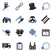 Chimney Sweeper Icons. Two Tone Flat Design. Vector Illustration.