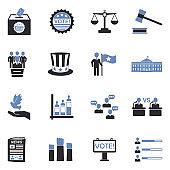 Democracy And Politics Icons. Two Tone Flat Design. Vector Illustration.