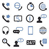 Customer Service Icons. Two Tone Flat Design. Vector Illustration.