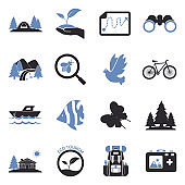 Eco Tourism Icons. Two Tone Flat Design. Vector Illustration.