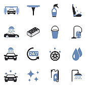 Car Wash Icons. Two Tone Flat Design. Vector Illustration.