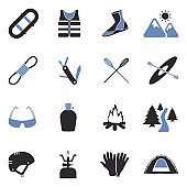 Rafting Icons. Two Tone Flat Design. Vector Illustration.