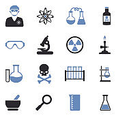 Chemistry Icons. Two Tone Flat Design. Vector Illustration.