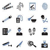 Crime Scene Icons. Two Tone Flat Design. Vector Illustration.