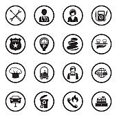 Service Icons. Black Flat Design In Circle. Vector Illustration.