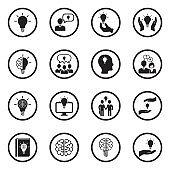Idea Icons. Black Flat Design In Circle. Vector Illustration.